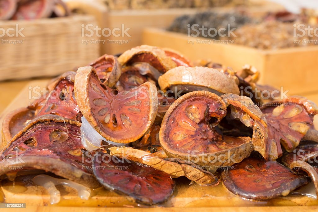 Lotus Root with Dry out on wooden table stock photo