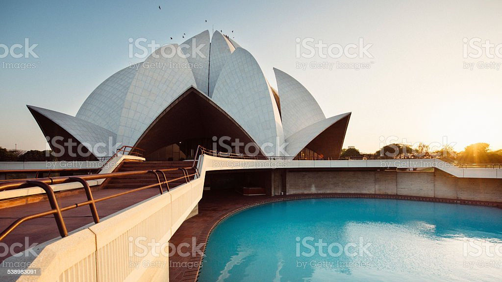 Lotus Temple in New Delhi India stock photo