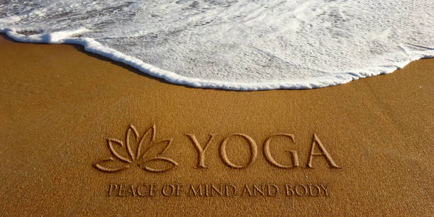 lotus yoga in the beach photo image - wave icon stock photos and pictures