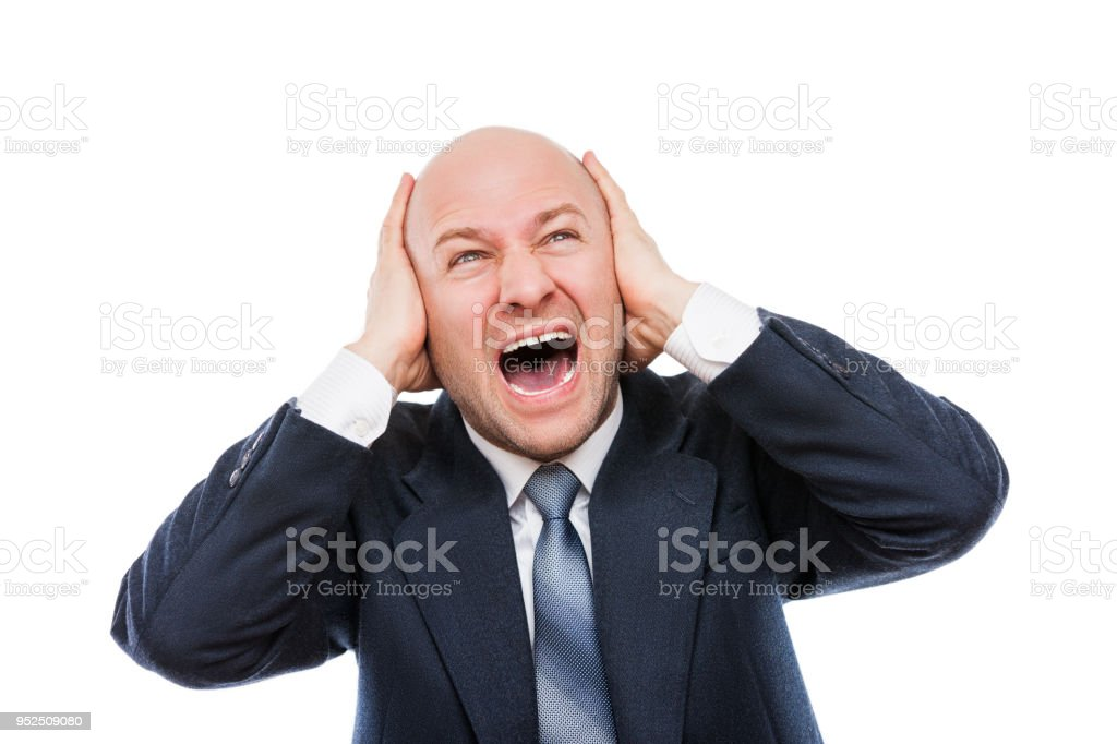 Laut schreien oder schreien müde gestresste Geschäftsmann Hände für Ohren – Foto