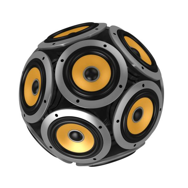 Loud speakers forming sphere isolated over white stock photo