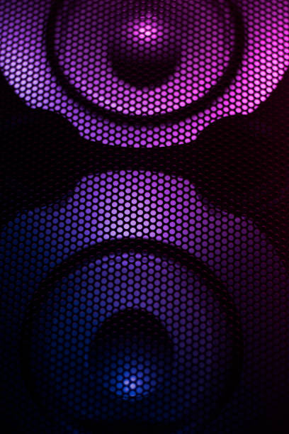 Loudspeaker, abstract and colorful loudspeaker in disco club. stock photo