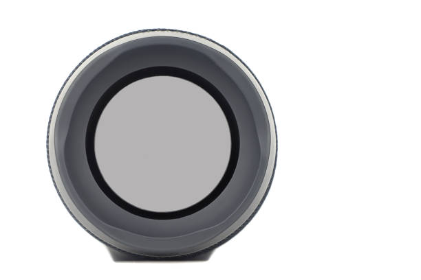 Loudspeaker of portable acoustics. Isolated on a white background. stock photo