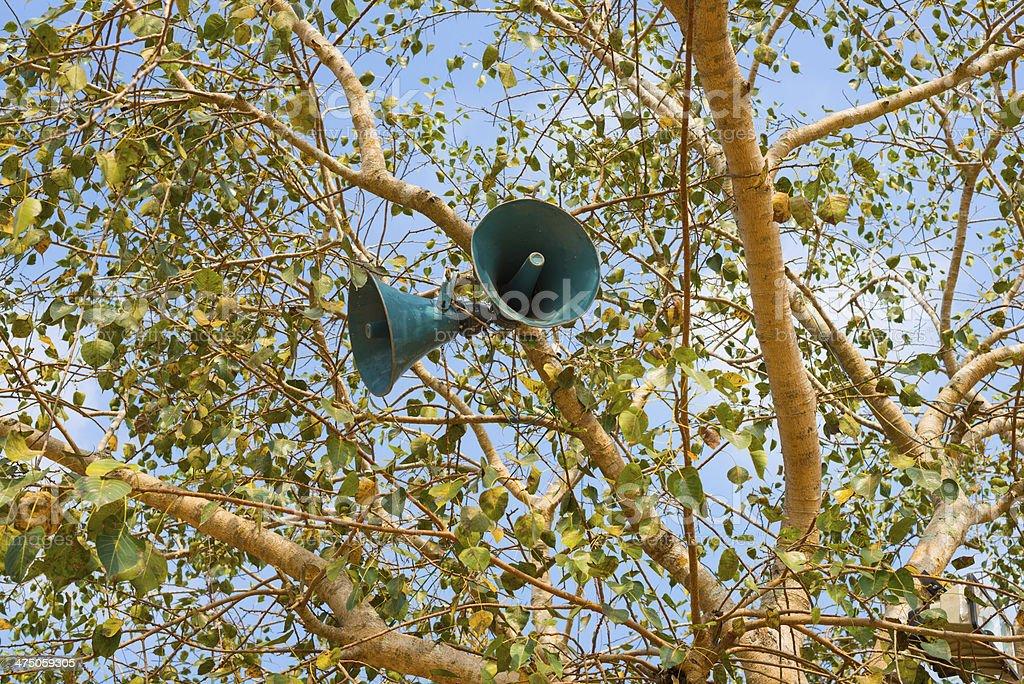 Loudspeaker  on a tree stock photo