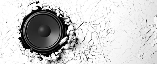 loudspeaker on a white wall background. 3d illustration - broken guitar stock photos and pictures