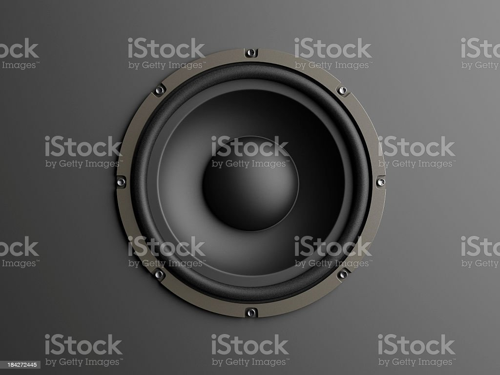 Loudspeaker on grey background stock photo