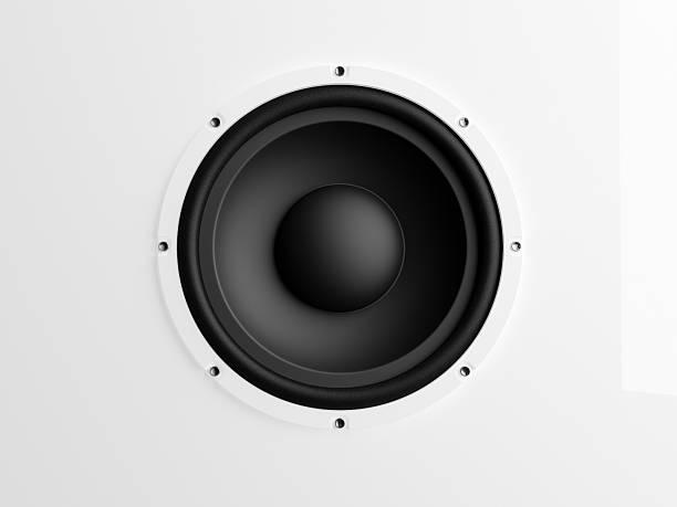 altoparlante su sfondo bianco - altoparlante hardware audio foto e immagini stock