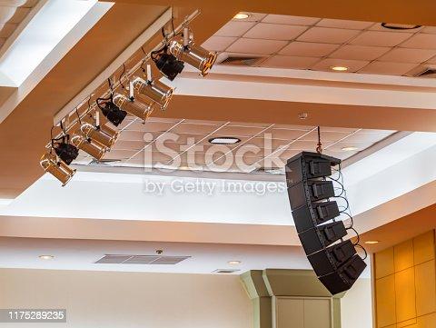 istock loudspeaker sound system hang ceiling in meeting room 1175289235