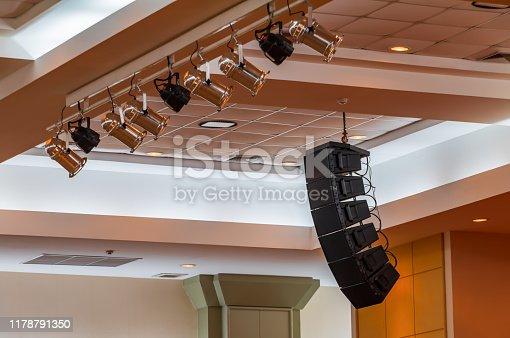 istock loudspeaker sound system hang ceiling in meeting room 1178791350