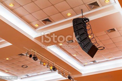 istock loudspeaker sound system hang ceiling in meeting room 1178791372
