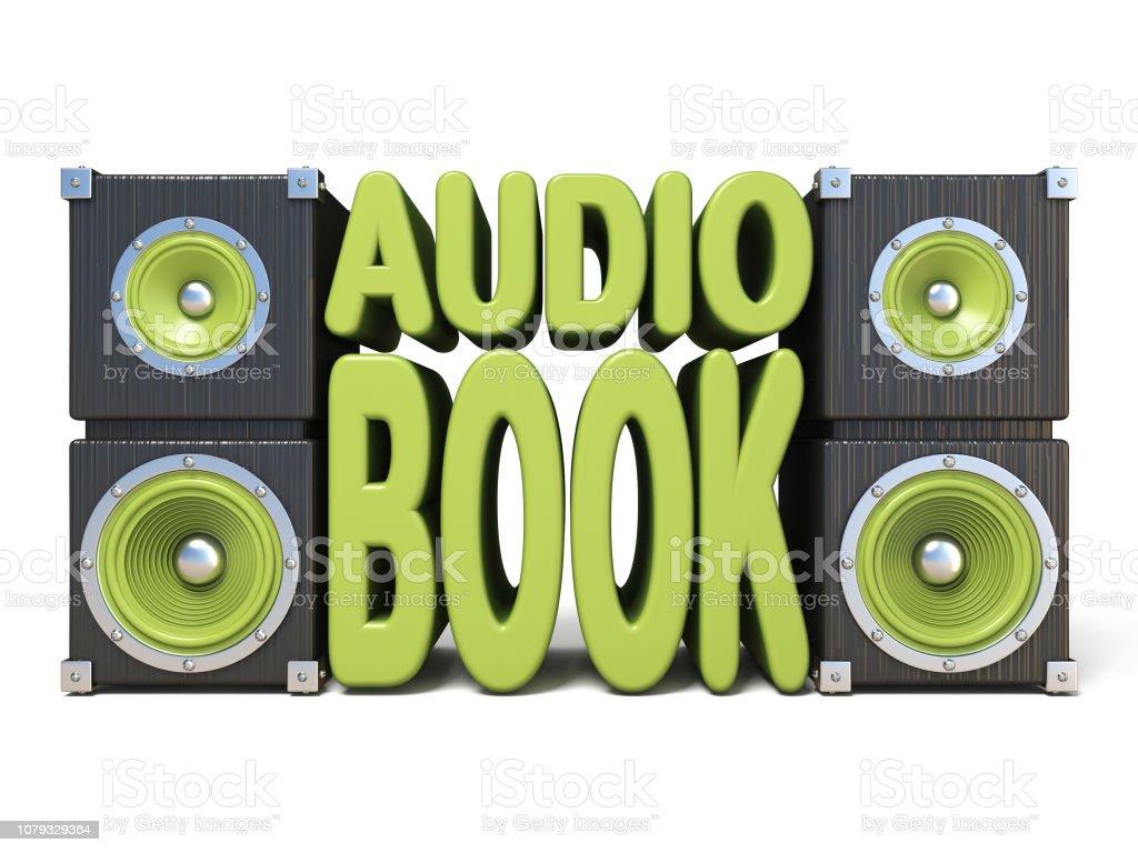 Alto-falante com verde AUDIO livro texto 3D - foto de acervo
