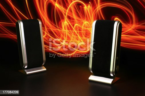 istock Loudspeaker with light painting 177084209