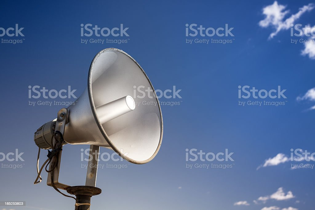 Loudspeakers broadcast a message stock photo