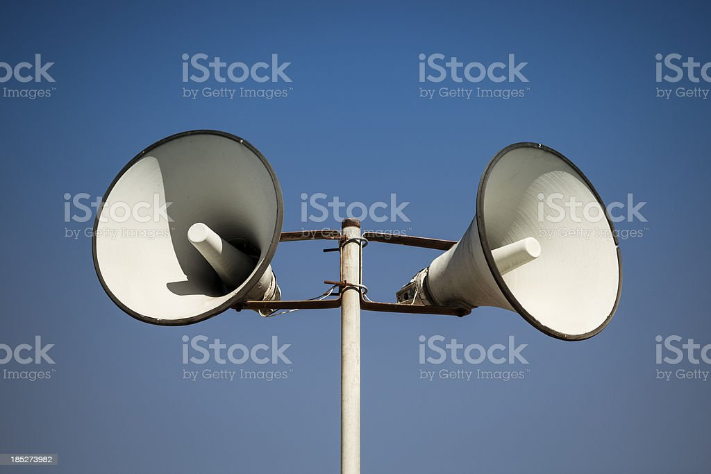 Loudspeakers broadcast a message royalty-free stock photo