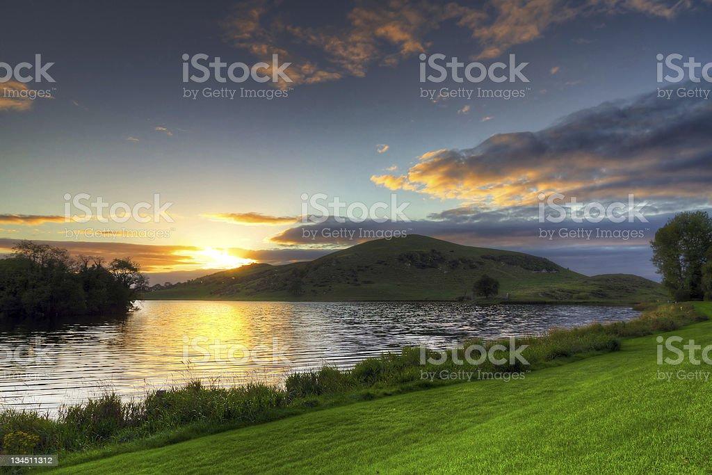 Lough Gur lake at sunset stock photo