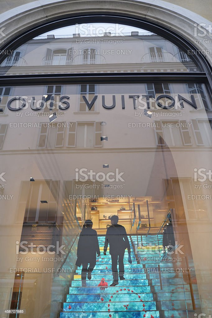 Louis Vuitton store with its internal creative staircase stock photo