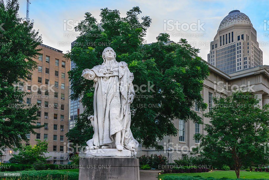 Louis XVI Statue - Louisville Kentucky stock photo