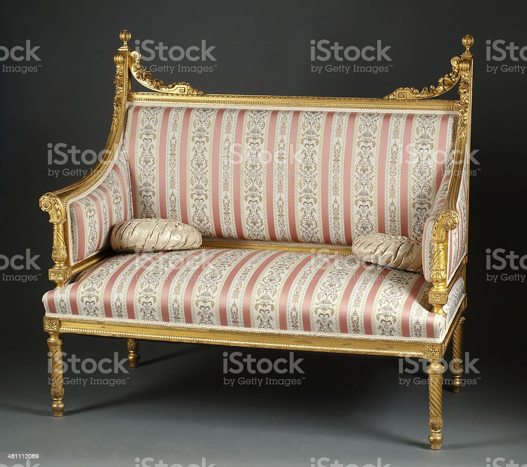 Louis XVI Style Gilt Wood Settee, Circa 1900 stock photo