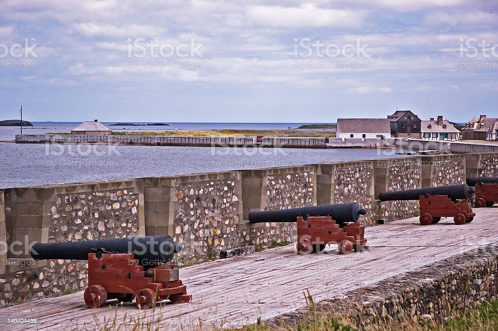 Louisbourg Cannons stock photo