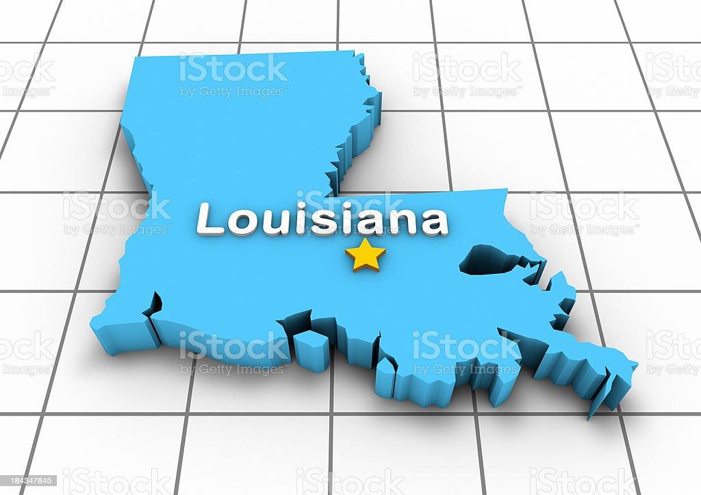 Louisiana 3D State Map royalty-free stock photo