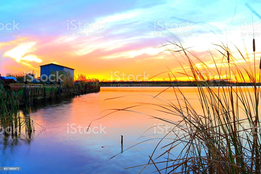 Louisiana Bayou Sunset stock photo