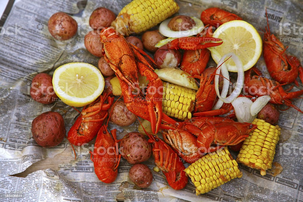 Louisiana crawfish boil stock photo
