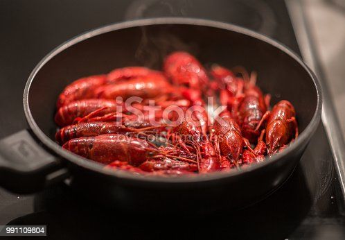 Pan of tasty boiled crayfish