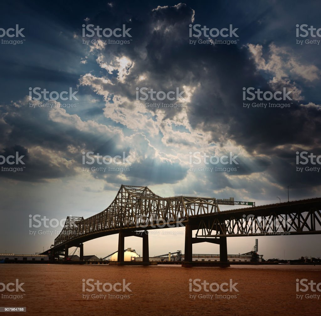 Louisiana Horace Wilkinson Bridge Mississippi river stock photo