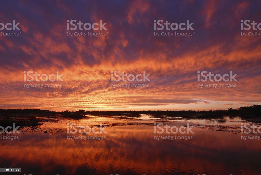 Louisiana Marsh Sunset stock photo