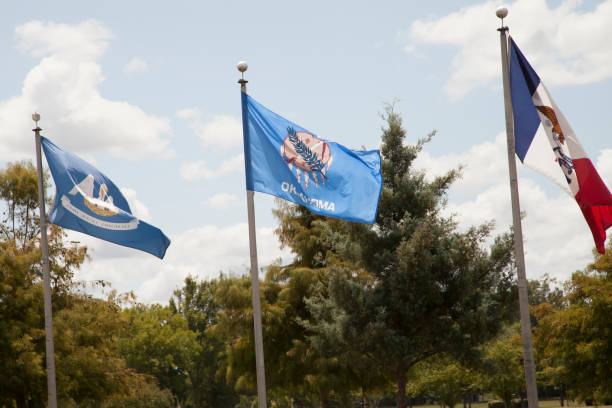 Louisiana, Oklahoma, and Iowa State Flags stock photo