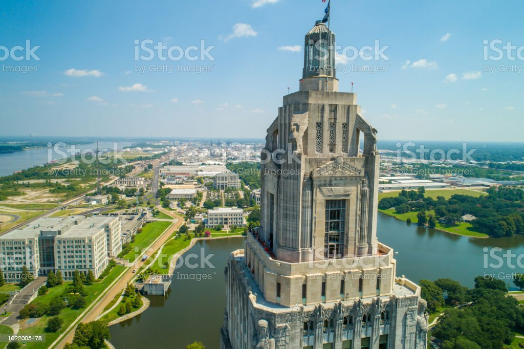 Louisiana State Capitol Building and welcome center in Baton Rouge stock photo
