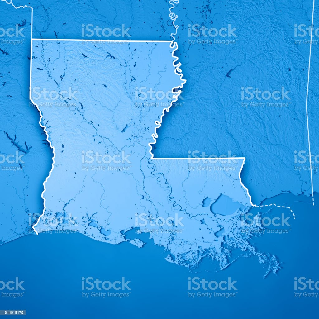 Louisiana State Usa 3d Render Topographic Map Blue Border Stock