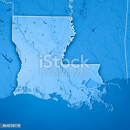 186815169istockphoto Louisiana State USA 3D Render Topographic Map Blue Border 844019178