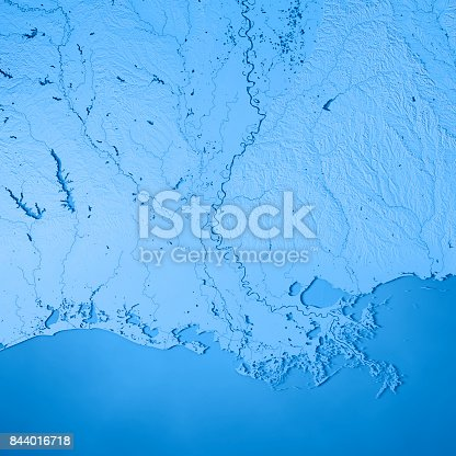 186815169istockphoto Louisiana State USA 3D Render Topographic Map Blue 844016718