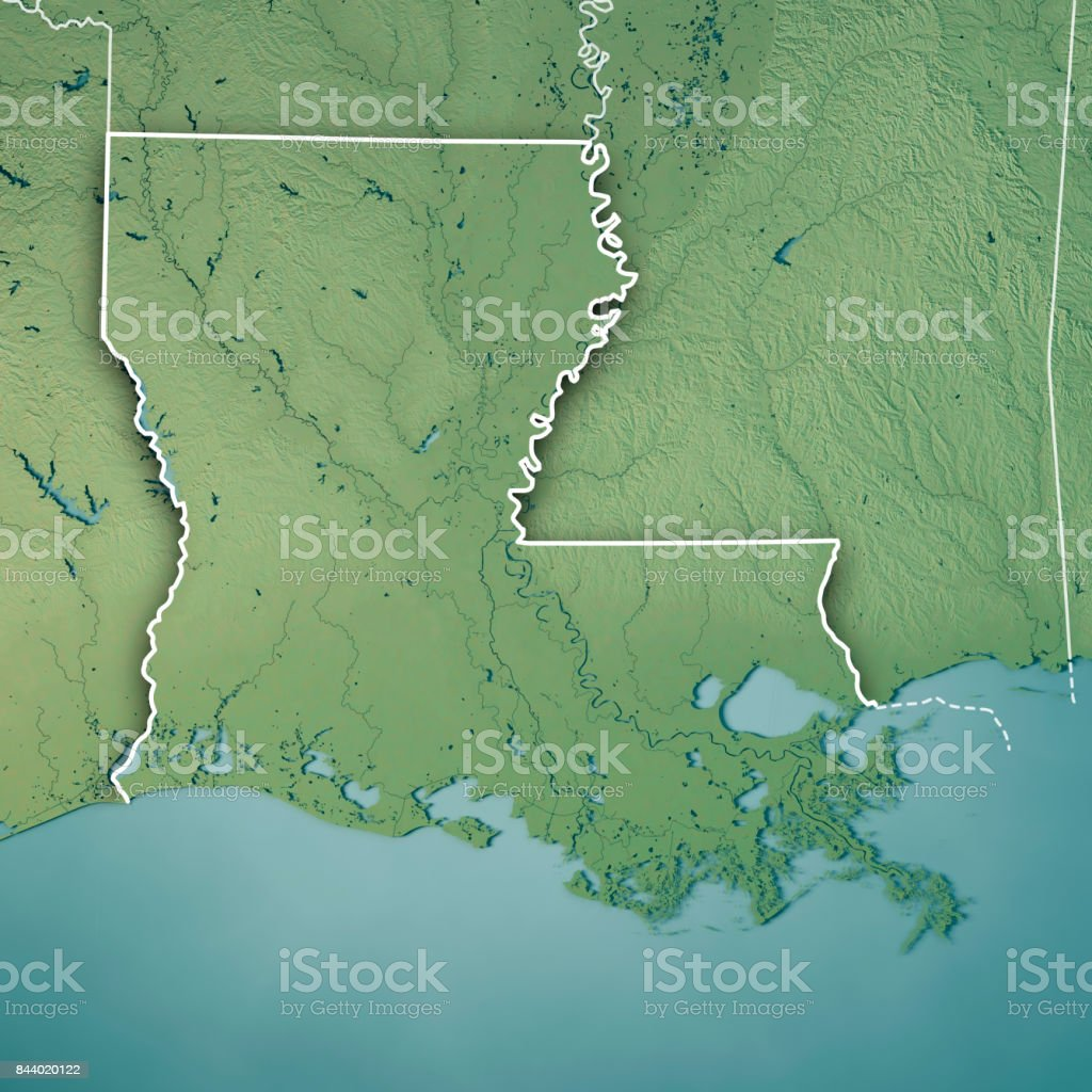 Louisiana State USA 3D Render Topographic Map Border stock photo