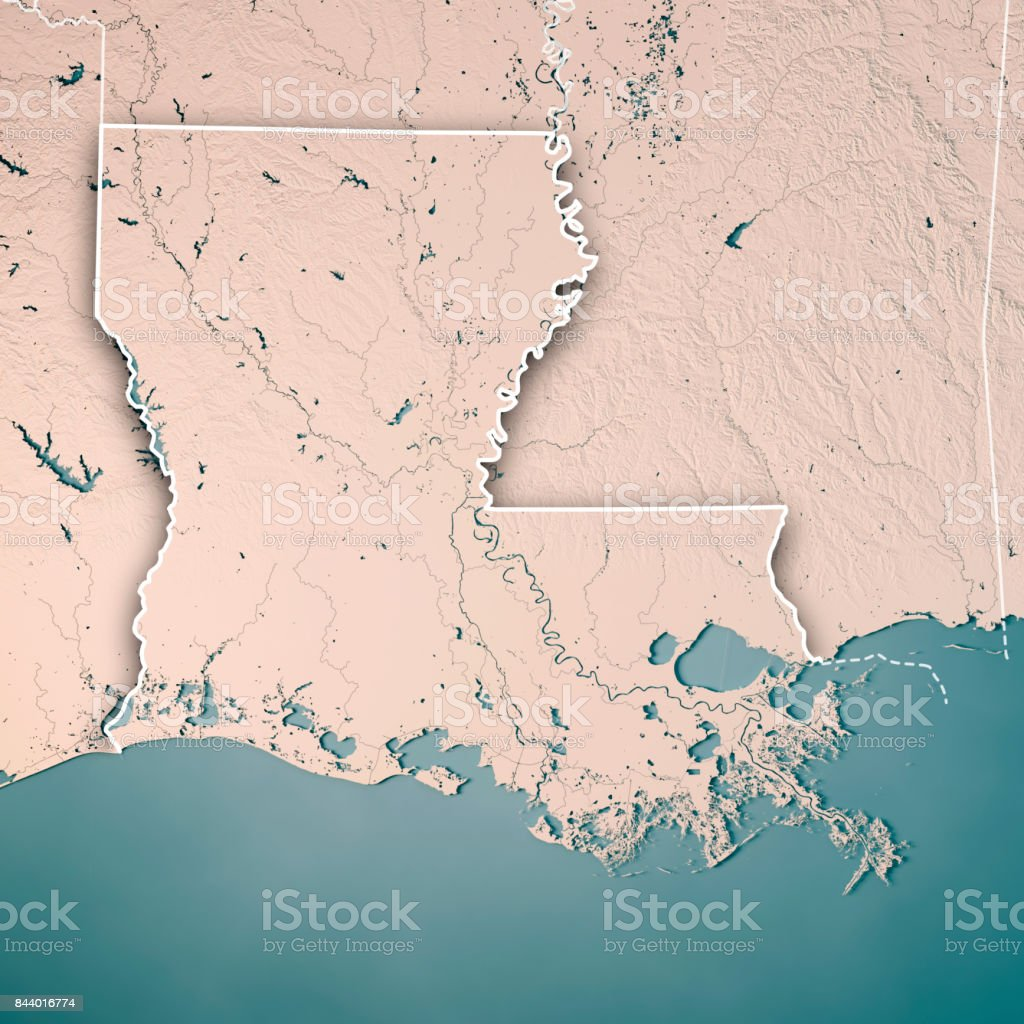 Louisiana State USA 3D Render Topographic Map Neutral Border stock photo