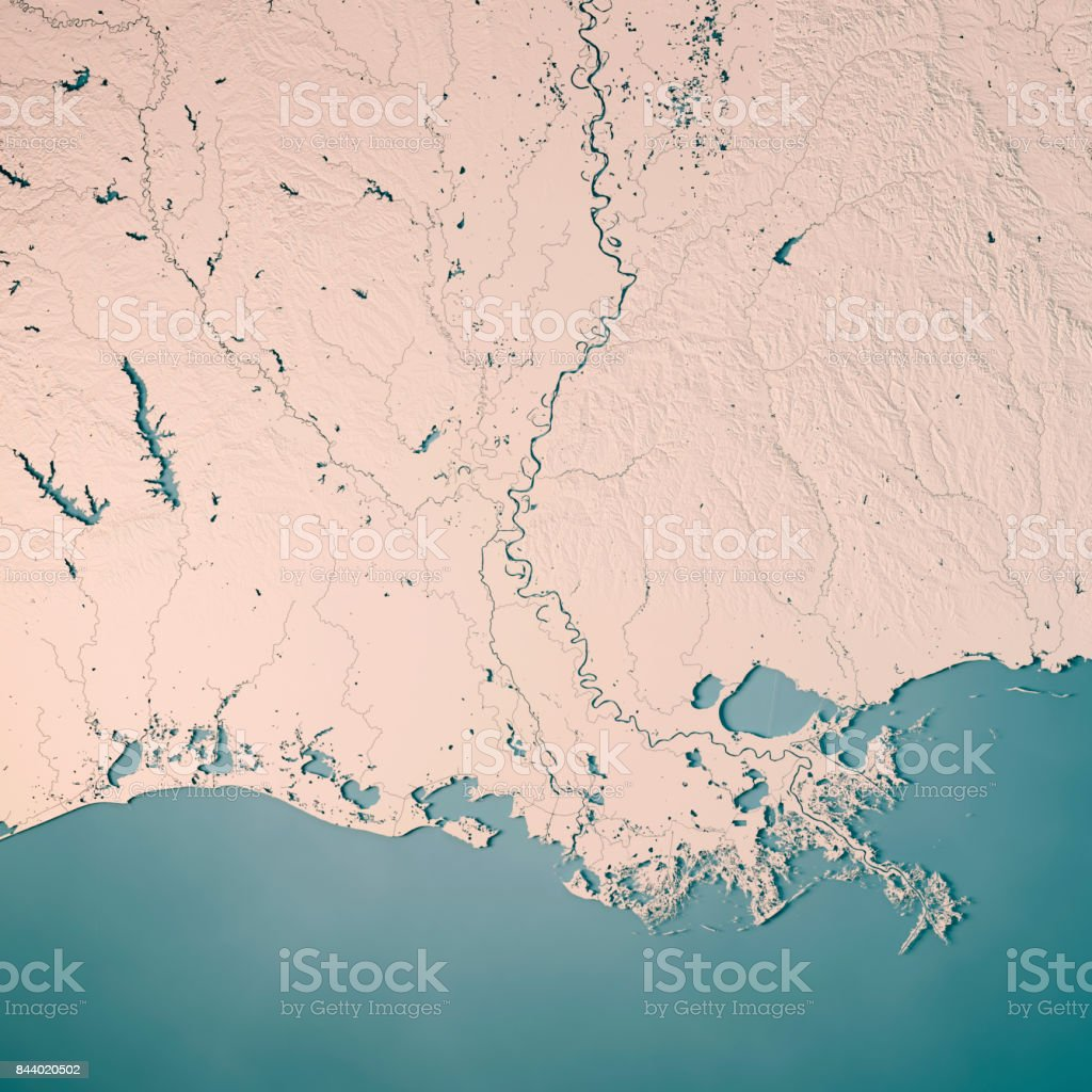 Louisiana State USA 3D Render Topographic Map Neutral stock photo