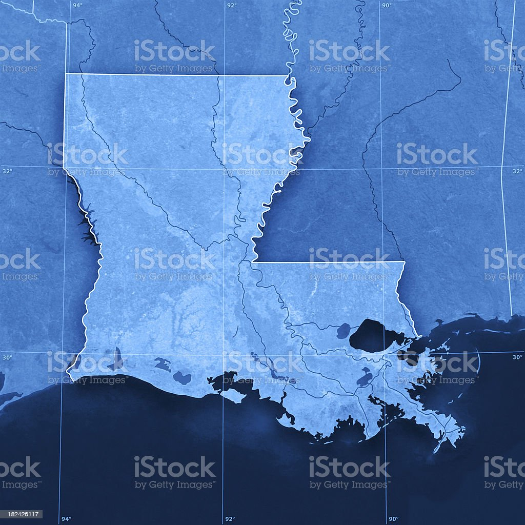 Louisiana Topographic Map stock photo