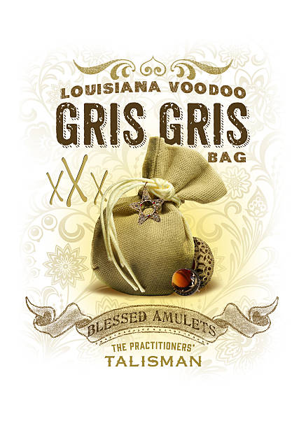 Louisiana Voodoo NOLA Collection traditional gris gris bag isolated on white southern charm stock pictures, royalty-free photos & images