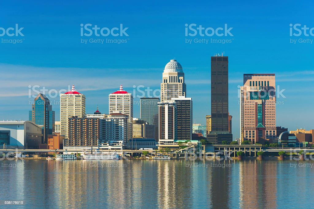 Louisville downtown skyline with reflections on the Ohio River stock photo