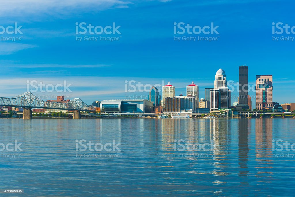 Louisville downtown skyline with the Ohio River and a bridge stock photo