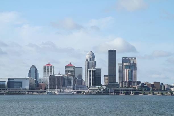 Louisville Kentucky daytime skyline as seen from Ohio stock photo