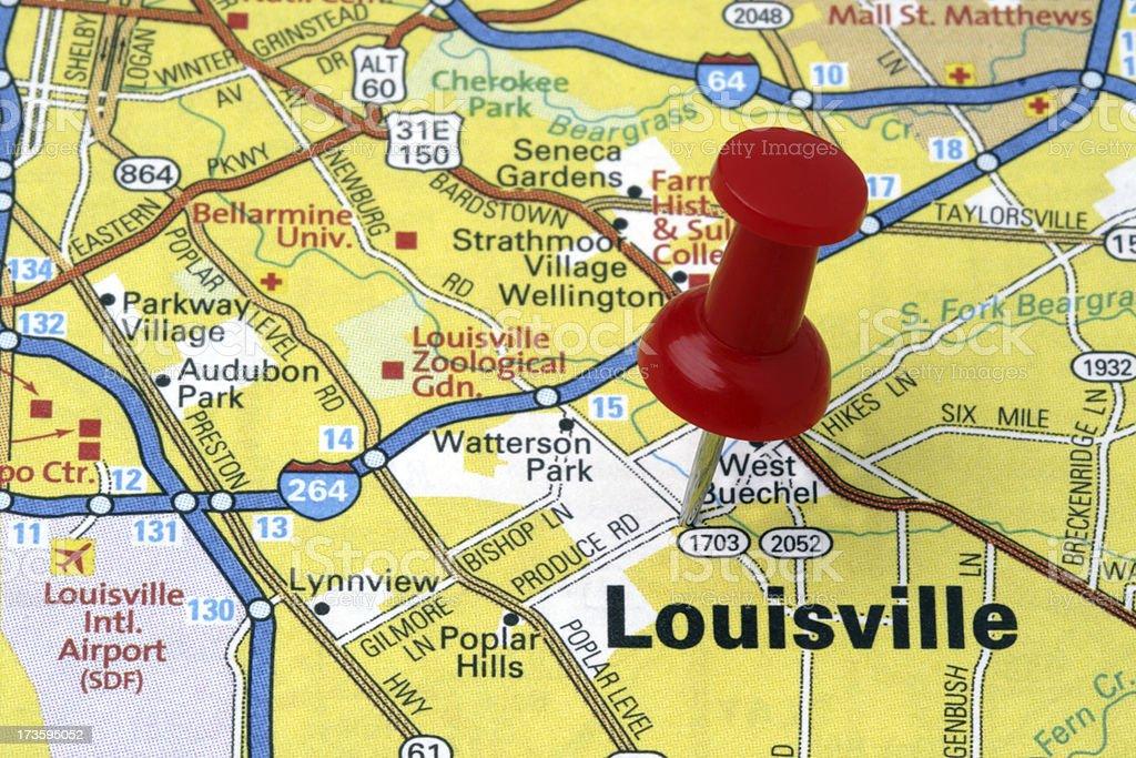 Louisville, Kentucky on a map. stock photo