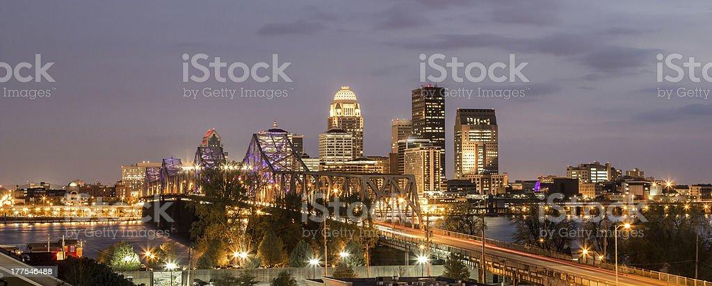 Louisville Kentucky skyline at dusk stock photo