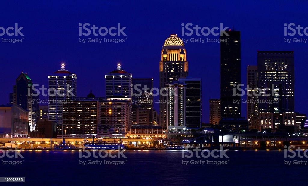 Louisville, Kentucky skyline at night stock photo