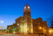 The Louisville City Hall at night.  The building was completed in 1873.