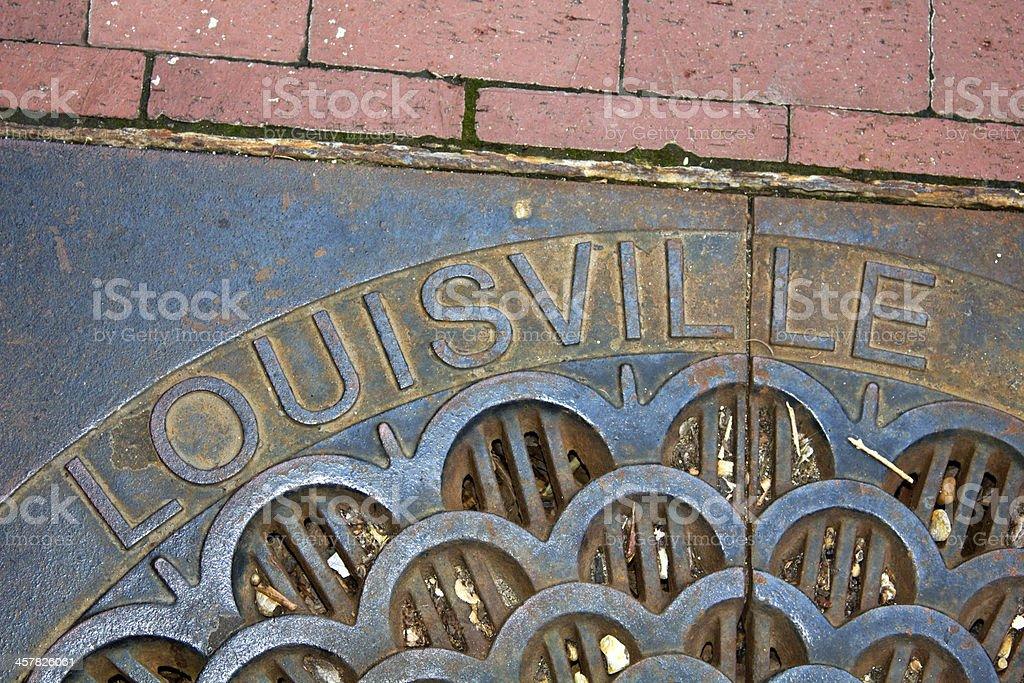 Louisville - manhole cover stock photo
