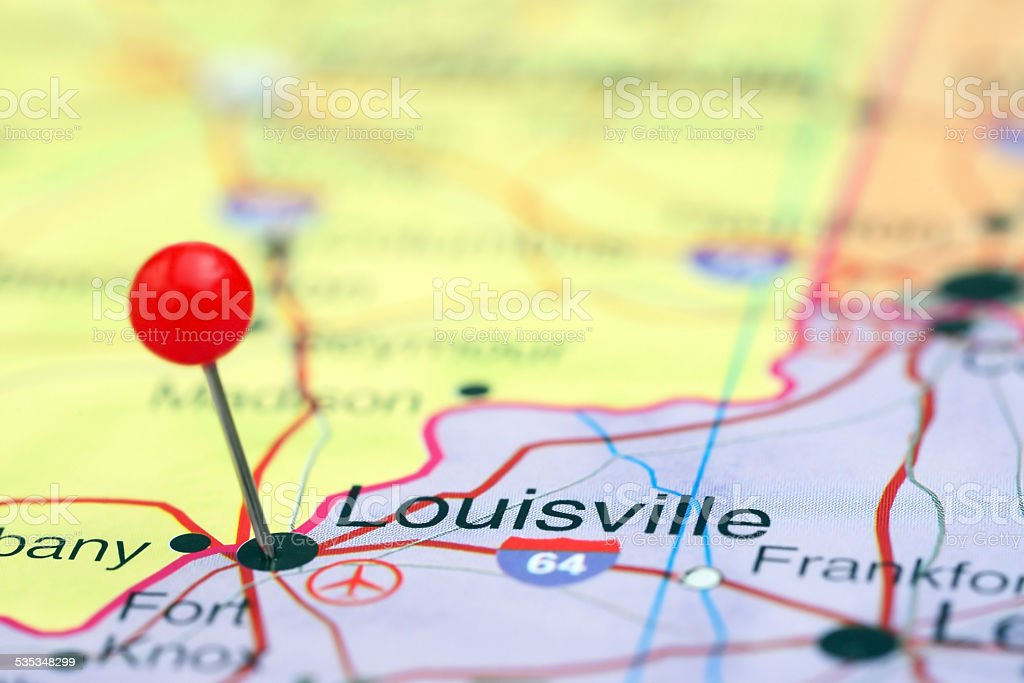 Louisville pinned on a map of USA stock photo
