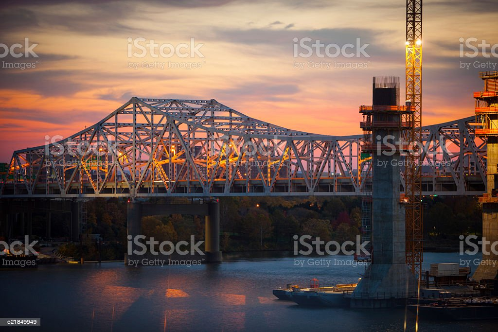 Louisville skyline along with bridges new and old. stock photo