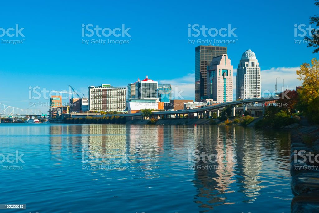 Louisville skyline and river reflection stock photo